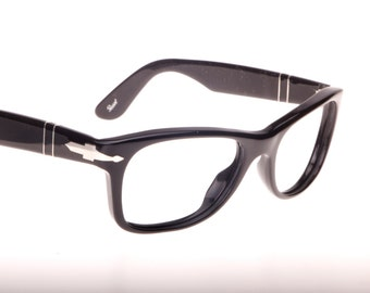 Persol 90s classy squared wayfarer style glossy black eyeglasses frames with the classic arrow hinges