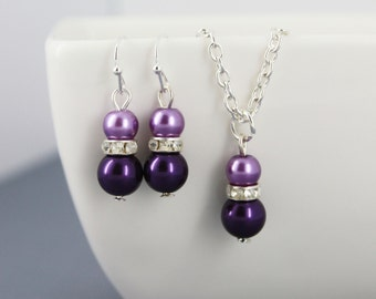 Dark Purple Necklace and Earrings Set, Flower Girl Jewelry, Bridesmaid Jewelry, Jr. Bridesmaid Jewelry, Purple Necklace
