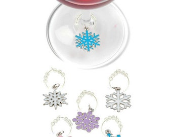 Christmas Wine Charms - Snowflakes, 6 pack