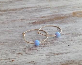 Opal earrings, blue opal earrings, gold filled earrings, opal hoop earrings, opal jewelry, gold filled earrings- 30003
