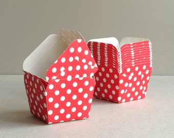 Square Red Polka Dot Baking Cups (set of 12) - Small paper cups for cupcakes & muffins - Perfect for Weddings and Baby Showers