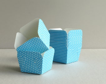 Square Blue Polka Dot Baking Cups (set of 12) - Small paper cups for cupcakes & muffins - Perfect for Weddings and Baby Showers