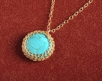 Round Turquoise Pendant necklace crochet 14K gold filled wire