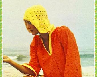 Crochet Pattern - Vintage Pattern - Floppy Hat - Sun Hat - 70s Beach Cap - PDF Instant Download - Packable - Floppy Brim - Vtg