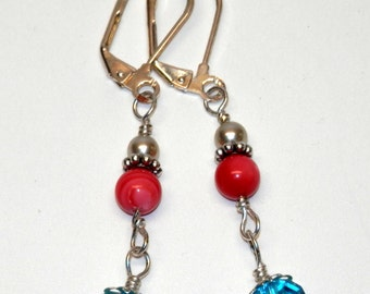 Turquoise Crystal and Coral Beaded Earrings