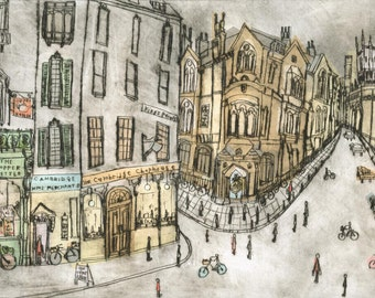 CAMBRIDGE PRINT Shops Cafes England, Corpus Christi Clock, Kings Parade Art Cambridge Signed Limited Edition Giclee Drypoint Clare Caulfield