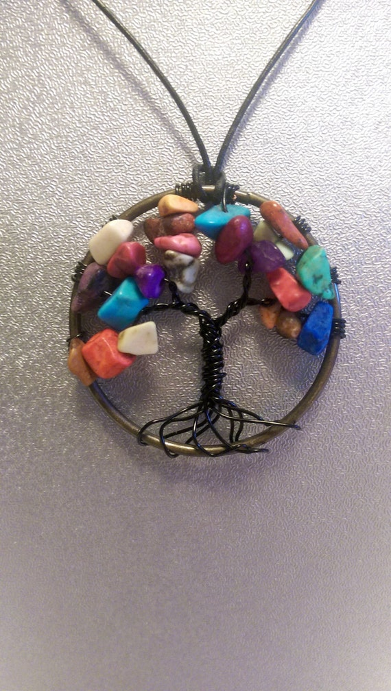 Tree of Life Necklace Multi Color HOWLITE Wire Pendant - Wire Wrapped Tree Gemstone - Healing Jewelry, Reiki Energy, Yoga Gifts
