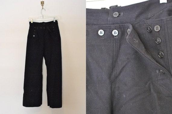 Vintage Navy Wool Uniform Pants Drop Front by ...