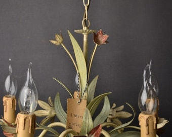 SOLD :Tole flower chandelier with flowers.