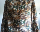 Vintage 1970s Woodland Floral Print Womens Blouse by Style Rite Size Large 12/14