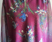 Vintage 1970s Purple Floral Print Top with Sheer Sleeves by Jodi California Plus Size 1X