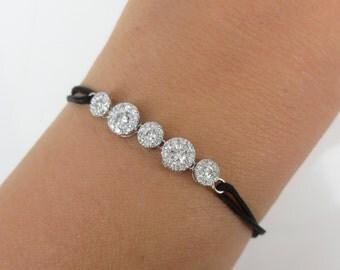 Diamond Halo Bracelet with adjustable Silk Cord.