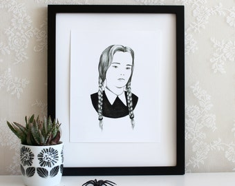 Wednesday Addams Halloween 5x7, 8x10, or 11x14 Wall Art Print, Poster, Drawing