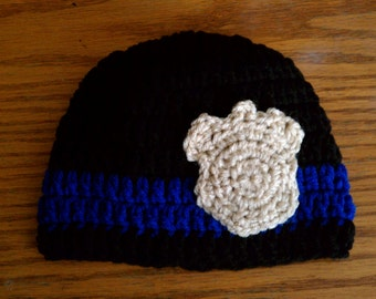 Police baby badge crocheted handmade beanie photo prop gift hat Preemie thru 6 months