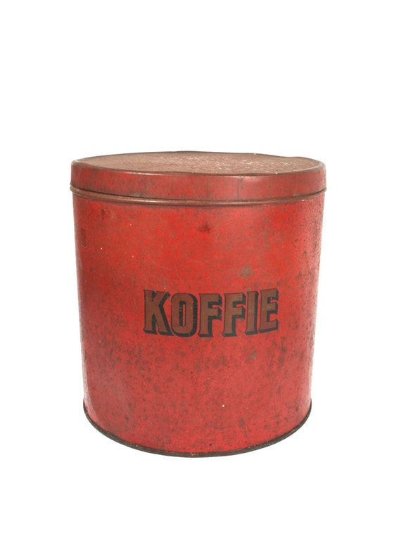 Red coffee tin large tin container round metal tin box old - Massieve decoratieve tuin ...