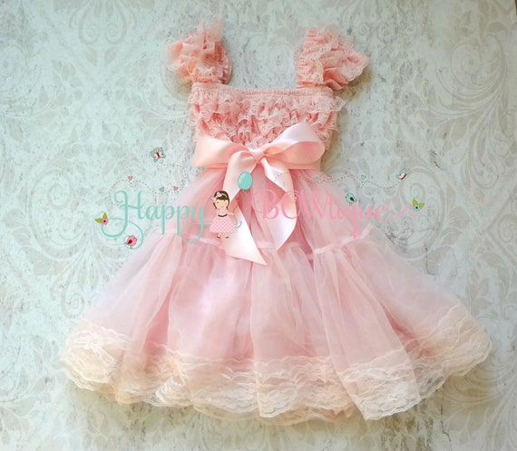 Flower girl dress Baby Pink Bow Chiffon Lace by HappyBOWtique