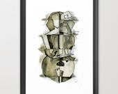 Cellist in Ink / Cubist Style Ink Wash / Giclee Print Art Print of Original Piece / Musical Art / Several Sizes