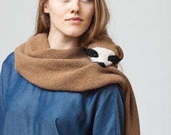 Sloth Stole - Sloth Scarf - Animal Scarf