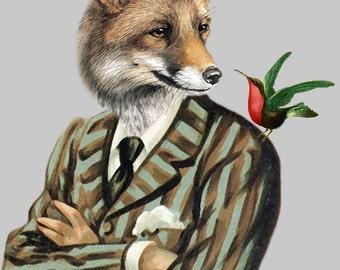 Fox with bird Animal painting portrait painting  Giclee Print Acrylic fox Painting fox Print fox art, fox painting, decor fox illustration