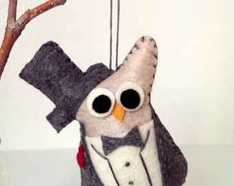 Groom Owl Ornament in gray tux / Woodland Wedding / Owl Christmas Ornament / Owl Decor / Owl Wedding Gift