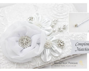 Wedding Lace Guest Book Pen Set Custom Jeweled Bridal GuestBook Flower Brooch Guest Books Beaded Birthday Guest Book in White