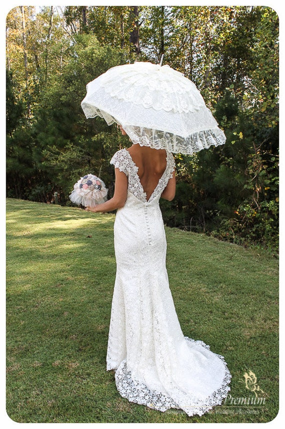 Wedding Parasol Lace Bridal Umbrella With Multi Layers Of