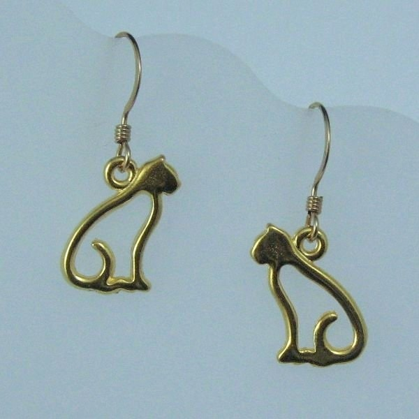 gold cat earrings on gold filled ear wires cat charms feline