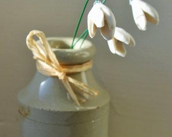 Three porcelain snowdrops - ceramic flowers