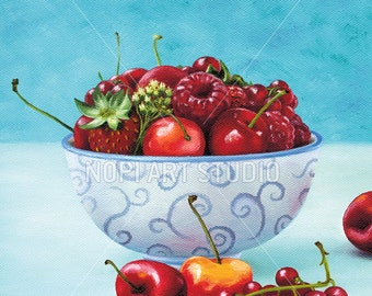 Kitchen Art Print Decor, Instant Download, Strawberries and Cherries Oil Painting, Summer Fruits Still Life Art, Home Wall Art Printable