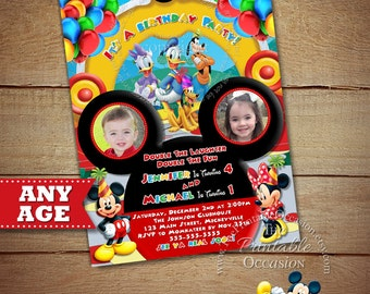 YOU CHOOSE Mickey Minnie Twins Birthday Invitation, Twins Siblings Clubhouse Mickey Minnie Invitations, Invitations For Twins or Siblings