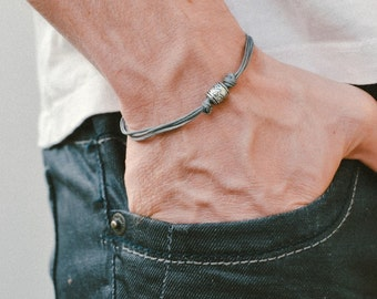Grey cord bracelet, men's bracelet with a silver tube charm and a gray cord, bracelet for men, Valentine gift for him, men's jewelry