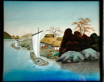 Vintage Asian paintings on Silk - Set of Two
