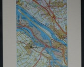 Vintage Map of the Nieuwe Waterweg Ship Canal - Dutch Map of the Netherlands - Holland Decor - Nautical Map of Maassluis - Map of Brielle