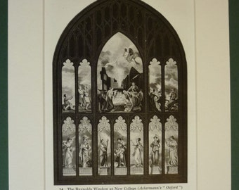 1940s Vintage Sepia Print of the Reynolds Window at New College Oxford Vintage Oxford University architectural decor, religious wall art