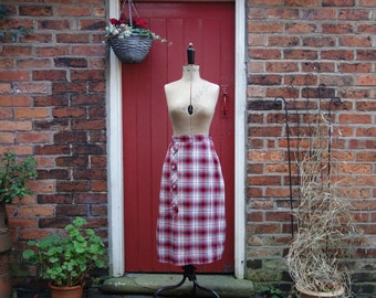 1940s wool skirt / 40s plaid skirt / Scotch Buttons woollen skirt / check tartan skirt