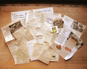 Vintage Recipe Clippings Lot