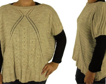 FA300 sweater knitting one size situation look kastig cut beige