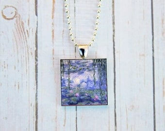 Claude Monet Water Lilies Necklace, Claude Monet Jewelry, Water Lilies Jewelry, Monet Jewelry,  Impressionism