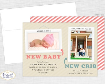 FREE SHIPPING - Birth and Moving Announcement Photo Card - Just Moved - New Baby, New Home - Personalized Photo Announcement