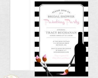 Bridal Shower Painting Party Invitation - Bridal Shower Invitation - Painting Party - Personalized - Custom Colors