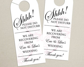 Set of 10 - Classic Swirl Door Hanger for Wedding Hotel Welcome Bag - Do Not Disturb