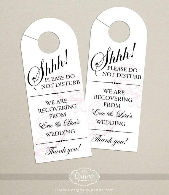 Set of 10 - Classic Swirl Door Hanger for Wedding Hotel Welcome Bag - Do Not Disturb