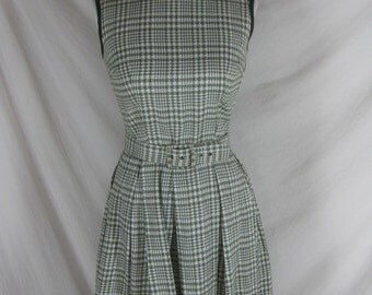 1950s 1960s Green Plaid Cotton Full Skirt Vintage Party Dress W 26