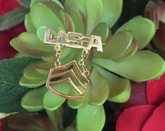 Gold over Sterling USA Military Staff Sergeant Brooch (st - 1194)