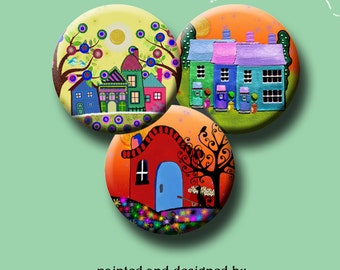 FUNKY HOUSES -  Digital Collage Sheet 1 inch round images for bottle caps, pendants, round bezels, etc. Instant Download #215.