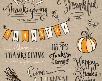 Thanksgiving Overlays Photoshop // Fully Layered PSD // Editable Vector EPS  // Pumpkin Fall Autumn // Brush Stamp // Seasonal Photo Overlay