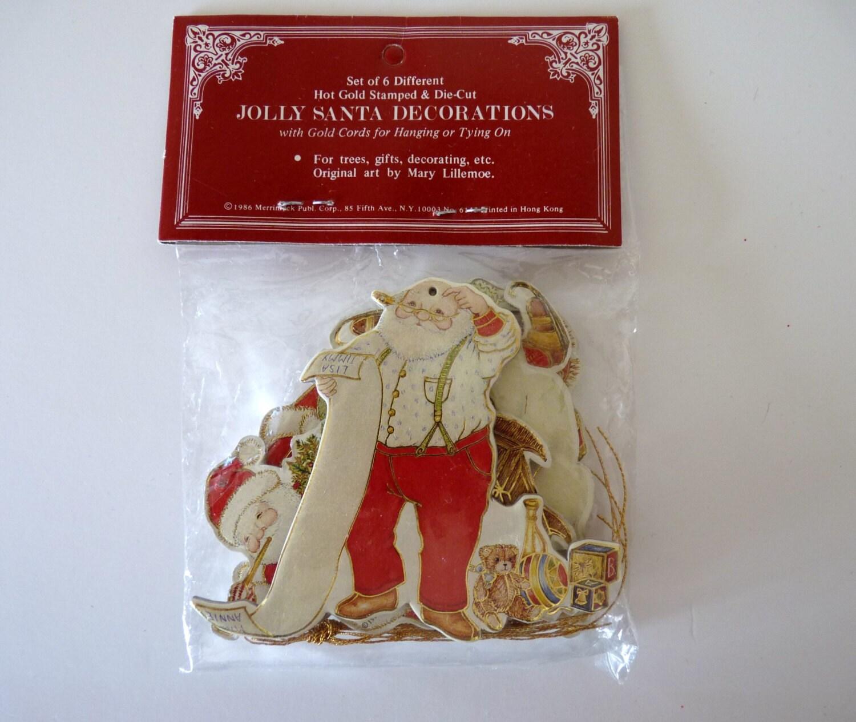 Die Cut Old Fashioned Ornaments Jolly Santa Decorations