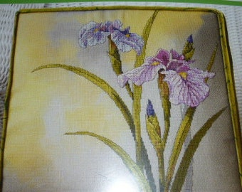 Janlynn Painted Hues Resplendent Irises Counted Cross Stitch Pillow Kit