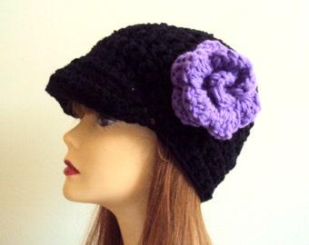 Brim Hat with Flower Brim Hat Beanie with Purple Flower Newsboy Cap