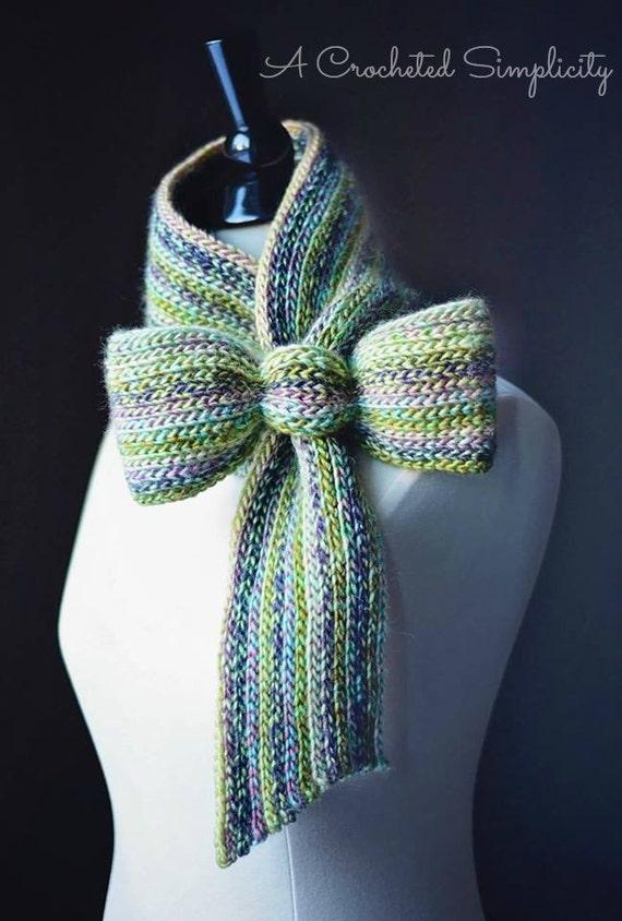 Crochet Pattern: Knit-Look Bow Tie Cowl / Scarf